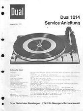 Dual Service Manual für 1214