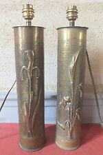 paio lampada rame art trincee vasi 1914-1918 pelosi 49 cm WW1