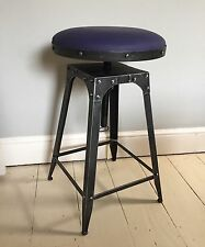 Café-style adjustable stool in Pewter colour, 100% leather blue colour seat