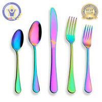 20-Piece Silverware Set Rainbow Flatware Stainless Steel Service for 4 Colourful