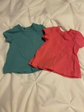 Primary Set Of 2 Baby Short Sleeve T-Shirts, Blue And Pink, Size 0-3 Months