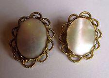 Original Vintage Clip On Goldtone Filligree  Mother of Pearl Earrings