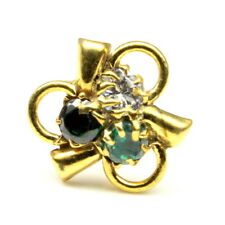 Ethnic Indian CZ  Multi-color   Nose Stud, screw piercing ring