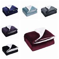 Sherpa Throw Blankets Velvet Reversible Solid Blanket Borrego 50*60
