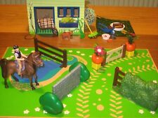 NEW Schleich Horse Club Pony Rider + saddle bridle used Stable Jumps Fence Farm