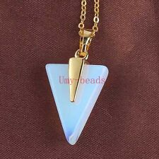 Gold Plated Opalite Opal Stone Triangle Shape Gemstone Pendant Necklace Jewelry