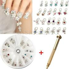 Nail Art Charm Piercing Hand Drill Hole Pierce Tool + 24 Pendants Dangle Decor