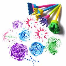 New 4Pcs Kids DIY Painting Art Supplies Flower-Shape Stamp Sponge Brush Tool Set