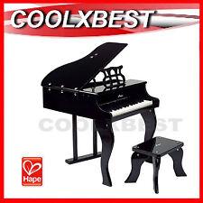 NEW HAPE E0320 HAPPY GRAND PIANO BLACK w STOOL KIDS 30 KEYS MUSICAL TOY