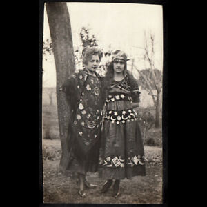 GYPSY FORTUNE TELLER OCCULT WOMEN MOON & PLAYING CARD DRESS~ 1910s VINTAGE PHOTO
