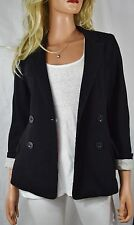 CARTONNIER ANTHROPOLOGIE Double Breasted Knit Jacket Blazer XS Black/Gray