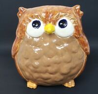 Owl Brown Handpainted Ceramic Piece Standing Chubby Owl Collectable Home Decor
