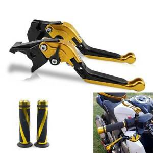 Regulable Brake Clutch Levers And Grips For Suzuki GSXR1000 2007-2008 Black Gold
