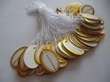 100 Preisschilder oval Goldumrandung Hängeetiketten Fadenetiketten Schmuck