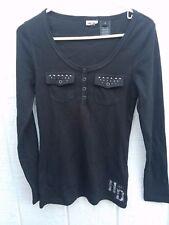 Women's Harley Davidson Henley Size Small Black w/Bling Long Sleeve Shirt