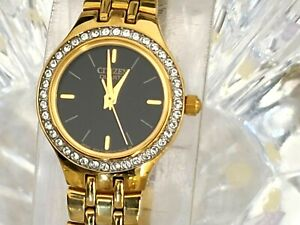 Citizen Quartz Gold Tone 23mm Swarovski Crystal Bezel Womens Watch (920)