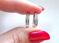 LQQK Beautiful 14k White GOLD Elongated Hoops Diamond Earrings huggies MUST SEE