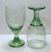 "Libbey Glasses Orchard Fruit Spanish Green Wine Glass Water Goblets 7"" Set of 2"