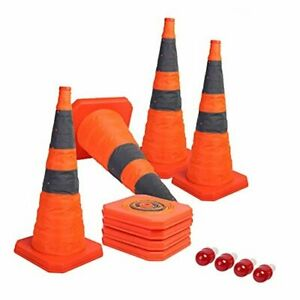[4-Pack] 28 inch Collapsible Traffic Cones with LED Light Multi Orange x4