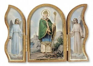 Saint Patrick - Wood Wooden Plaque Triptych Religious Holy Gift