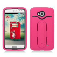 For LG Optimus Exceed 2 VS450 Rubber Hybrid HARD Case Cover Snap Tail STAND