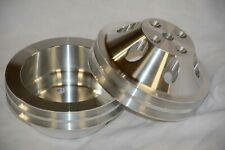 Aluminum Chevy Water Pump Crankshaft Pulleys Sbc Lwp Pulley Set Pair Long Pump