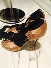 Tom Ford Gucci Cognac Satin Gladiator Strap Shoes Pumps Sz40.5 $1300