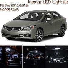 For Honda Civic 2013-2016 White Interior LED Light kit + White License Light