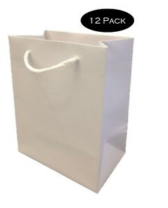 White Paper Gift Bags with Handles Medium Wedding 8 x 10 Premium Heavy Duty