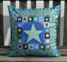 "16"" reversible zipped cotton cushion Makower Vienna Klimt style blue green gold"