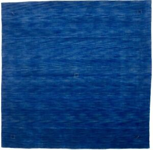 Hand-Loomed Solid Blue Square Rug 8X8 Tribal Oriental Modern Home Decor Carpet