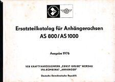 Ersatzteilebestellkatalog für Anhängerachsen AS800/AS1000, VEB Kraftfahrzeugwerk