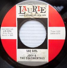 JOEY & CONTINENTALS mod beat pop 45 SAD GIRL b/w BABY strong VG to VG+    F1677