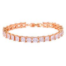 Deilcate White Topaz Gold Plated Womens Jewelry Gemstone Chain Bracelet LS039