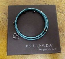 NEW SILPADA Turquoise Seed Beads Wrap Bracelet B1938 Sterling Heart Peace Charm