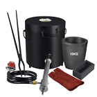 10KG Propane Forge Gas Melting Furnace Foundry Kit Metal Copper Scrap w/Crucible