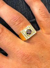 18 CARAT YELLOW GOLD RED DIAMOND MEN'S DRESS RING