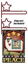 """Wrought Iron Star Garden Flag Hanger Rust Finish 14"""" wide x 5"""" high"""