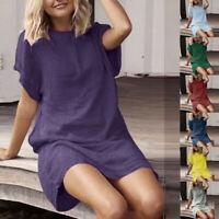 Women Summer Casual Solid Short Sleeve Short Dress Crew Neck Linen Loose Dress