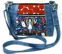 Cross Body Bag Alice In Wonderland Purse Handbag Handmade Hand Crafted