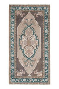 """1970s Low Pile Turkish Rug Hand Knotted Faded Mat Yastik Rug 1'10"""" X 3'5"""""""