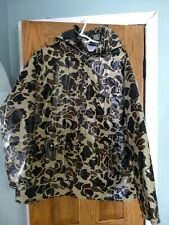 Duck Bay Mens Camo Camouflage PVC Raincoat Rain Coat Jacket Quilted Lining Sz M