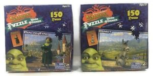 2 NEW DreamWorks Puzzles • Shrek: Donkey & Fiona • 150 Pieces + Stickers +Poster