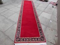 Old Shabby Chic Hand Made Traditional Persian Oriental Wool Red Runner 410x99cm