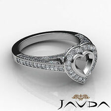 Halo Pave Diamond Engagement Heart Semi Mount Ring 18k White Gold White 1.25Ct