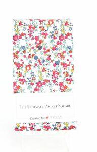 Designer Brand Men's Pocket Square Red White Baker Floral Printed