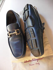 FERRAGAMO Loafers Drivers 7.5 Fits like 8.5  Blue Leather Gancini Italy Moc-Toe