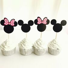 12pcs Disney Mickey Minnie Mouse cupcake TOPPER. Lolly Loot Bag Party Supplies