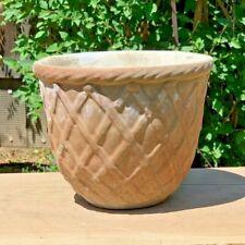 Antique Textile Flowerpot Old Ceramic Stone Lattice Pattern Garden Patio Planter