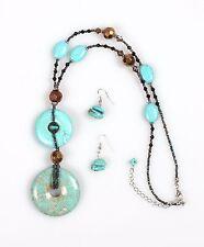 Turquoise Disc Necklace Set - NS1005TQ